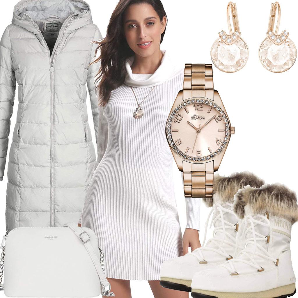 Weißes Winter-Frauenoutfit mit Stiefeln, Kleid und Tasche