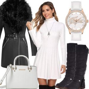 Schwarz-Weißes Frauenoutfit mit Kleid und Tasche