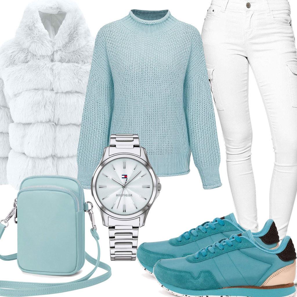 Winter-Frauenoutfit in Weiß und Türkis