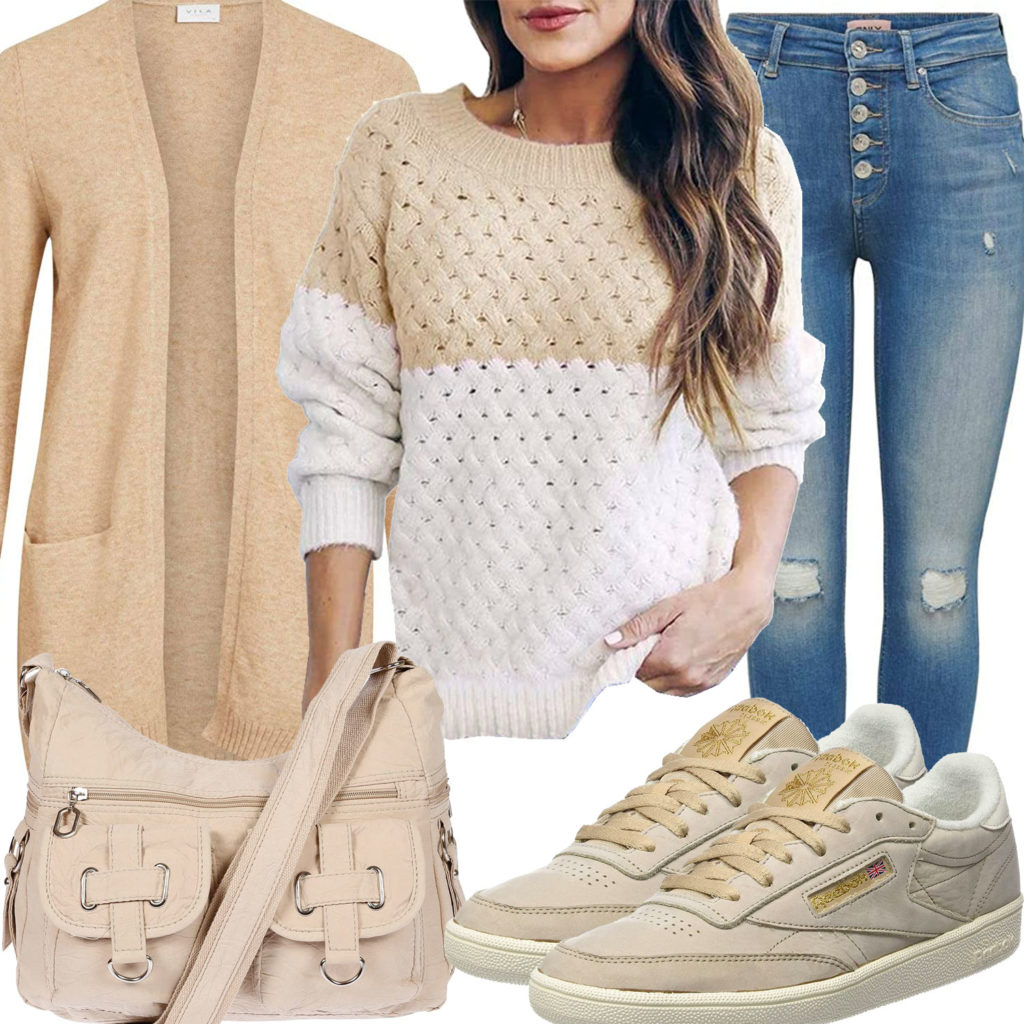 Beiges Frauenoutfit mit Pullover, Strickjacke und Sneakern
