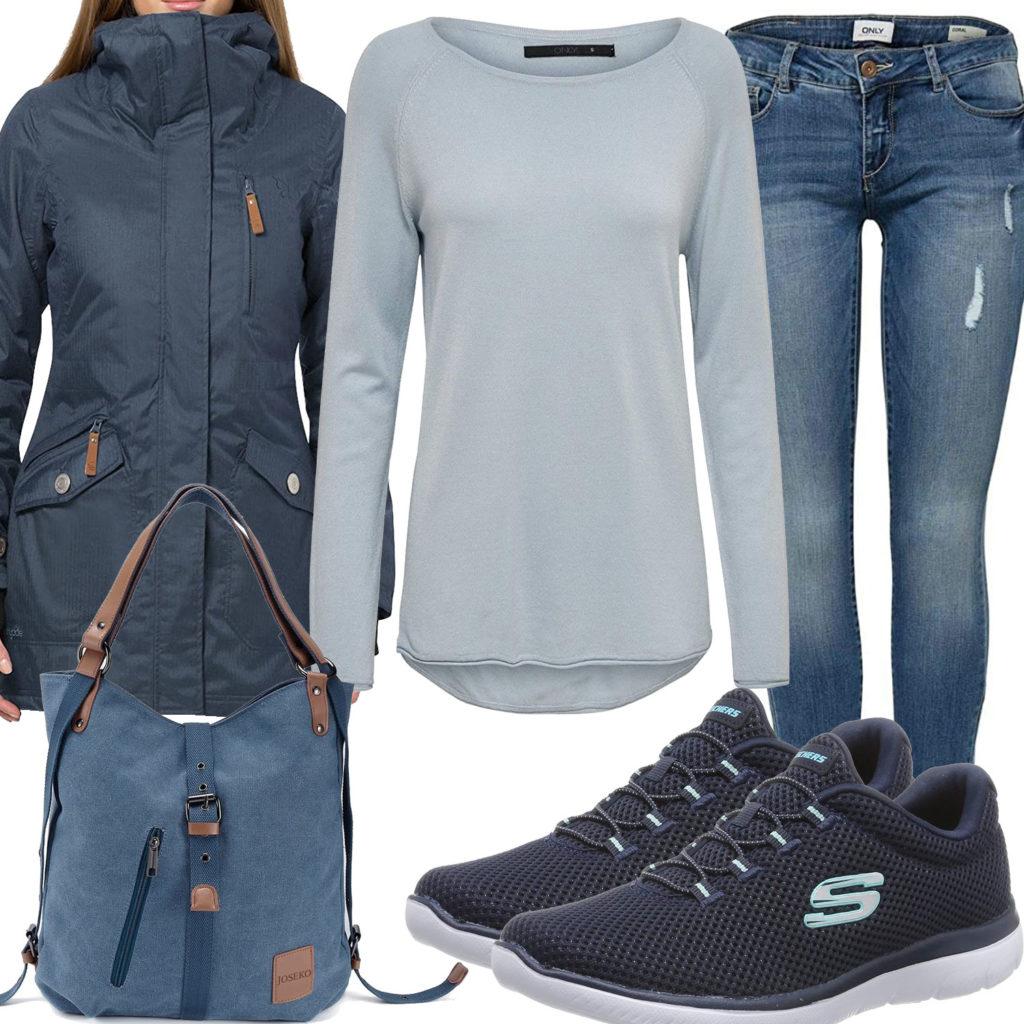 Blaues Frauenoutfit mit Parka, Sneakern und Jeans