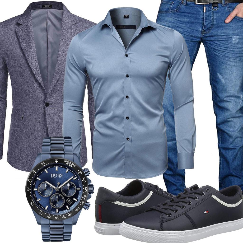 Blaues Herrenoutfit mit Hemd, Sakko und Boss Uhr