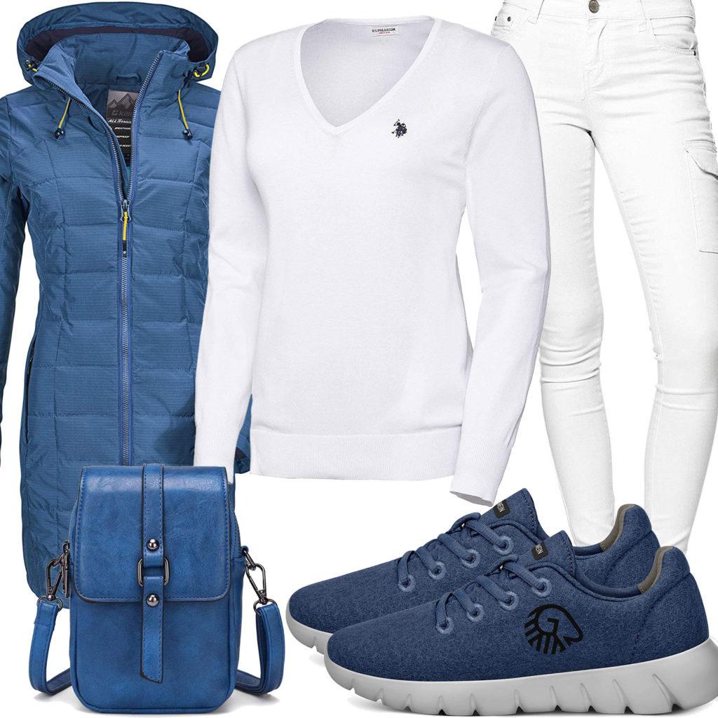 Blau-Weißes Frauenoutfit mit Giesswein Sneakern