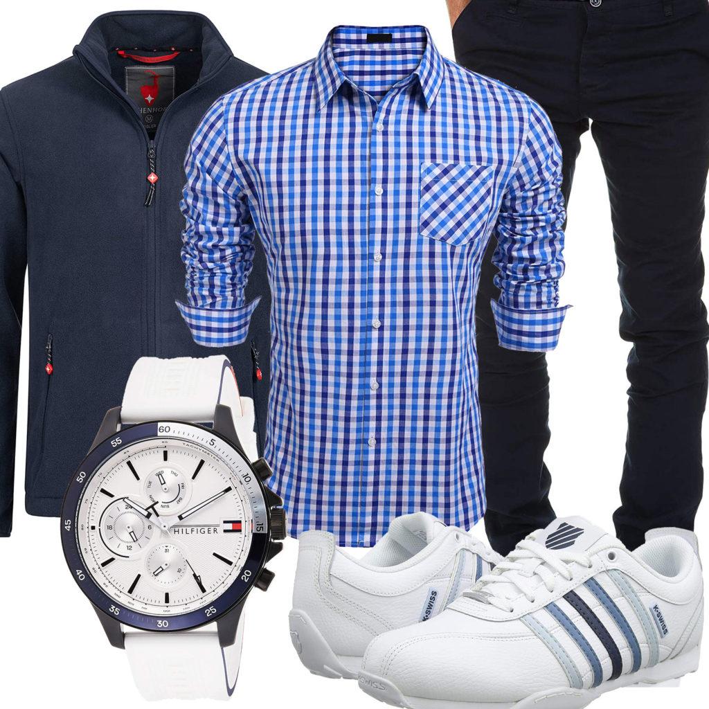 Blau-Weißes Herrenoutfit mit kariertem Hemd