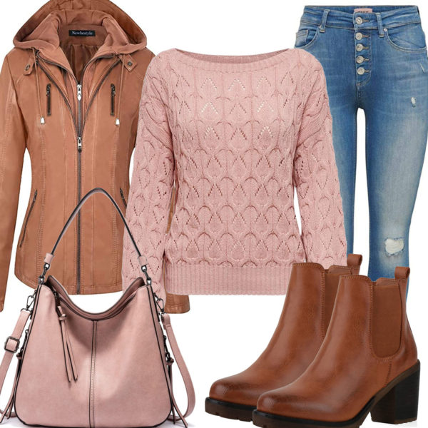 Schickes Frauenoutfit mit altrosa Pullover und Lederhandtasche
