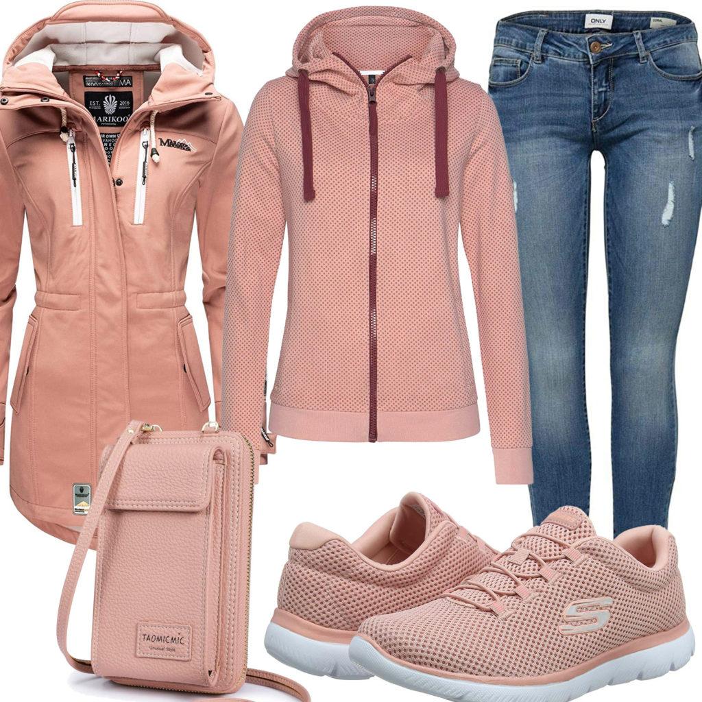 Apricot Damenoutfit mit Hoodie, Sneaker und Tasche