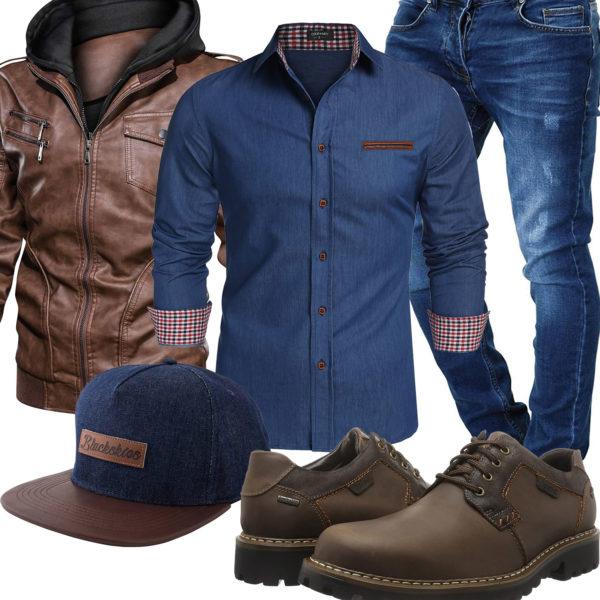 Herren-Style mit Denim Jeanshemd und Cap