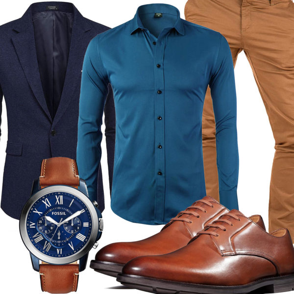 Business-Style mit dunkelblauem Hemd und Sakko