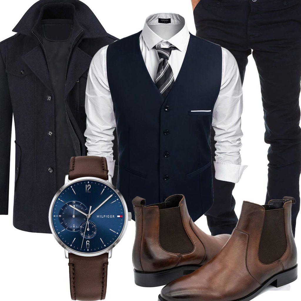 Business-Herrenoutfit mit dunkelblauem Mantel, Chino und Weste