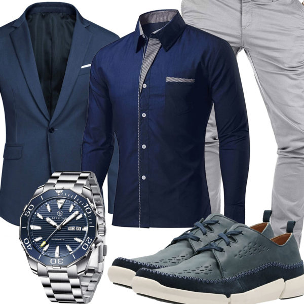 Elegantes Business-Herrenoutfit in Navyblau und Hellgrau