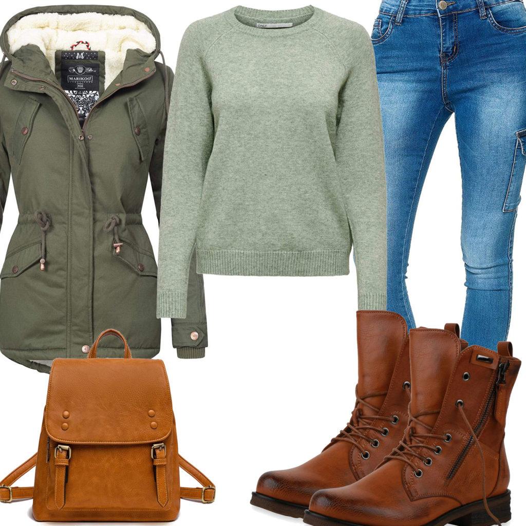 Grün-Braunes Frauenoutfit mit Jacke, Pullover und Stiefeln