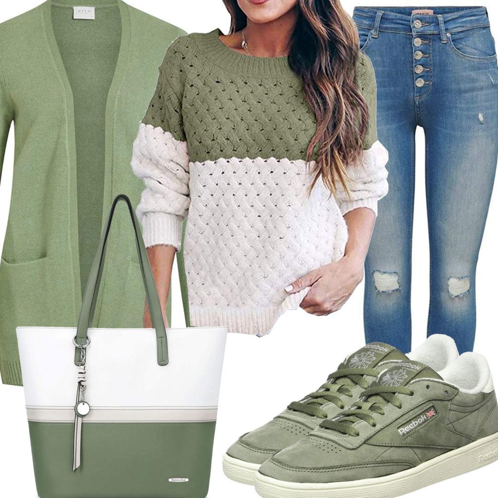 Grün-Weißes Frauenoutfit mit Strickjacke und Pullover