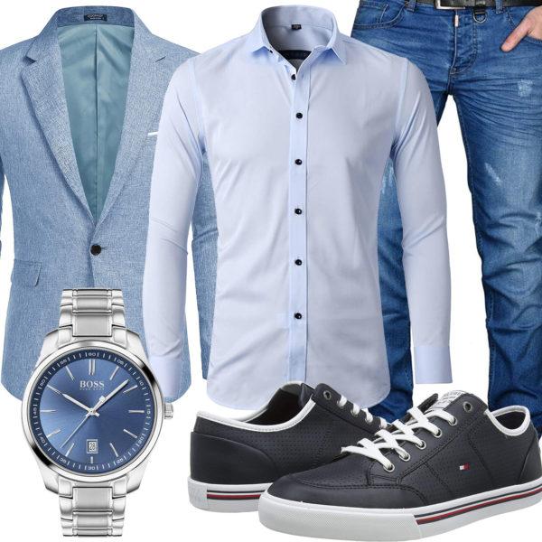 Blauer Business-Style mit Hemd, Sakko und Jeans
