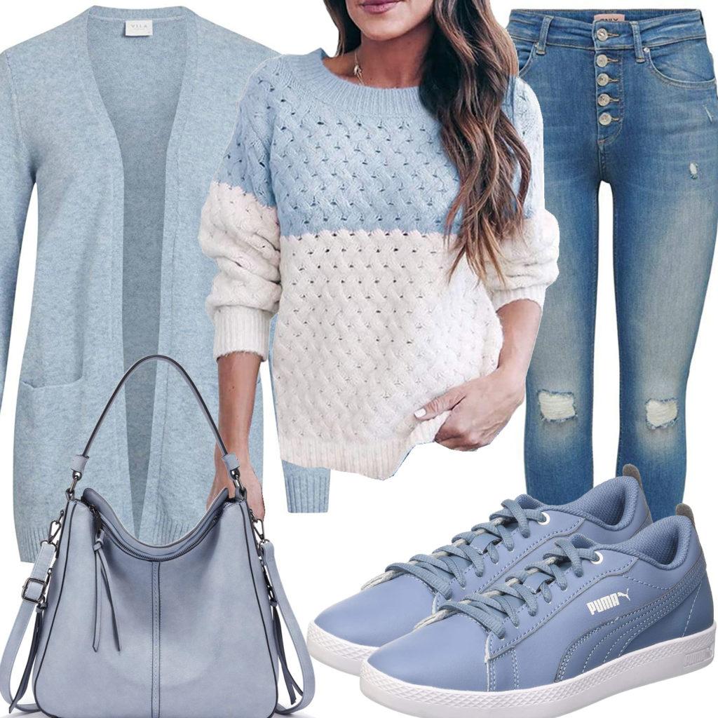 Hellblaues Frauenoutfit mit Strickjacke und Pullover