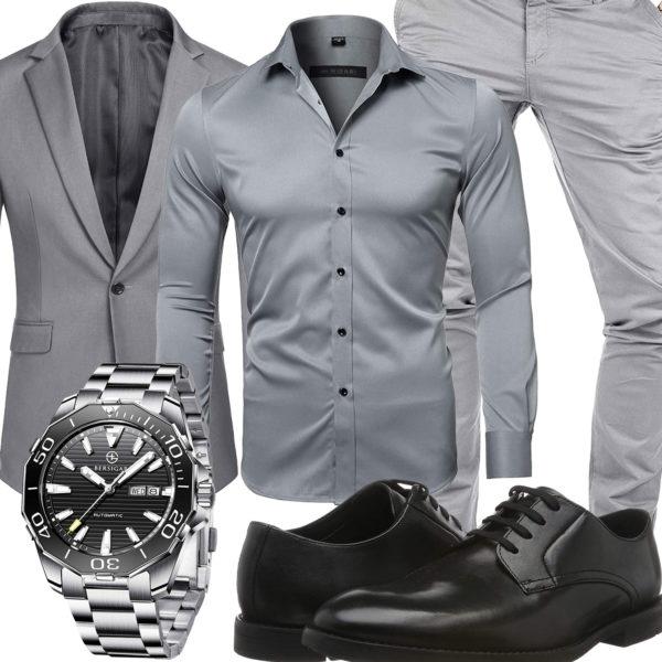 Hellgraues Herren-Businessoutfit mit Sakko und Hemd