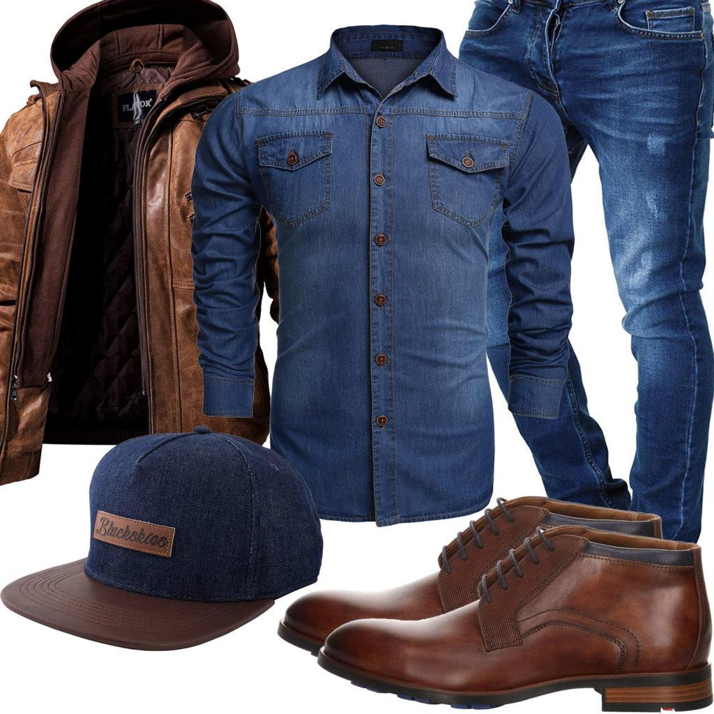 Herren-Style mit Jeanshemd, Cap und Jeans