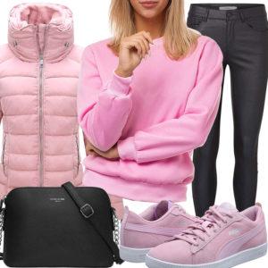 Frühlings-Damenoutfit in Schwarz und Pink