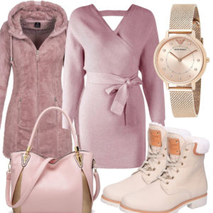 Winter-Frauenoutfit in Rosa und Creme