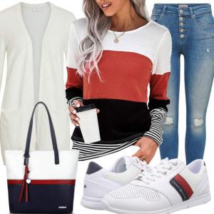 Elegantes Frauenoutfit in Weiß, Dunkelblau und Rot