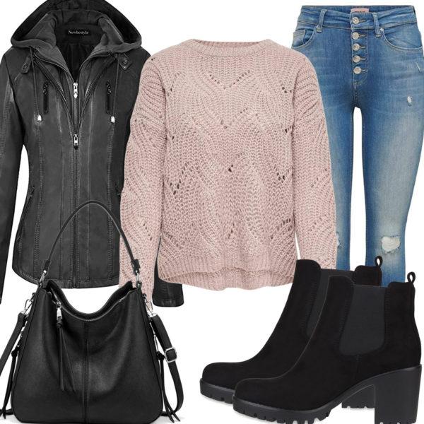 Lässiges Frauenoutfit mit schwarzer Lederjacke und Ledertasche