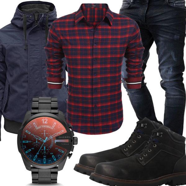 Herren-Style mit kariertem Hemd, Jacke und Stiefeln