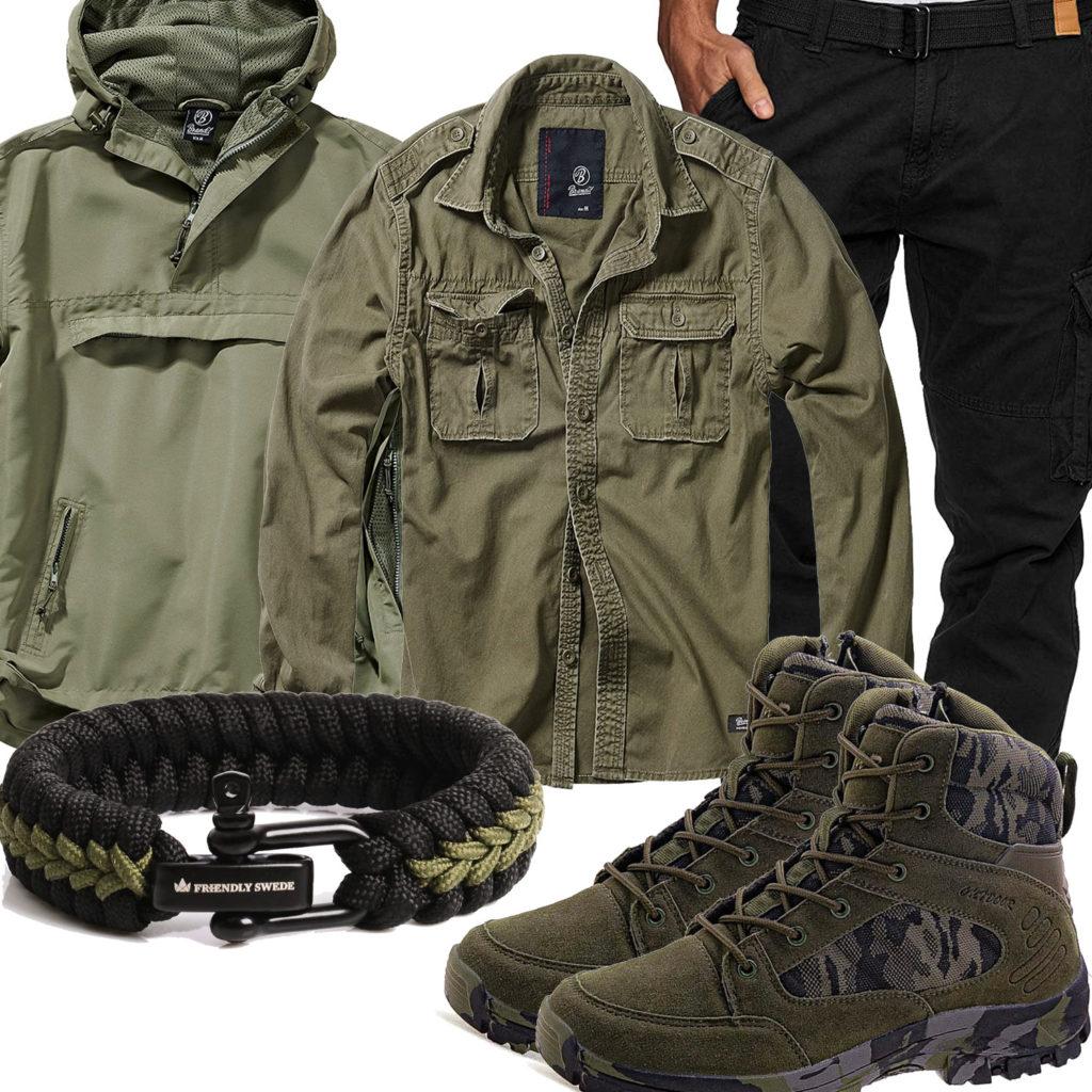 Grün-Schwarzer Military-Style mit Paracord-Armband