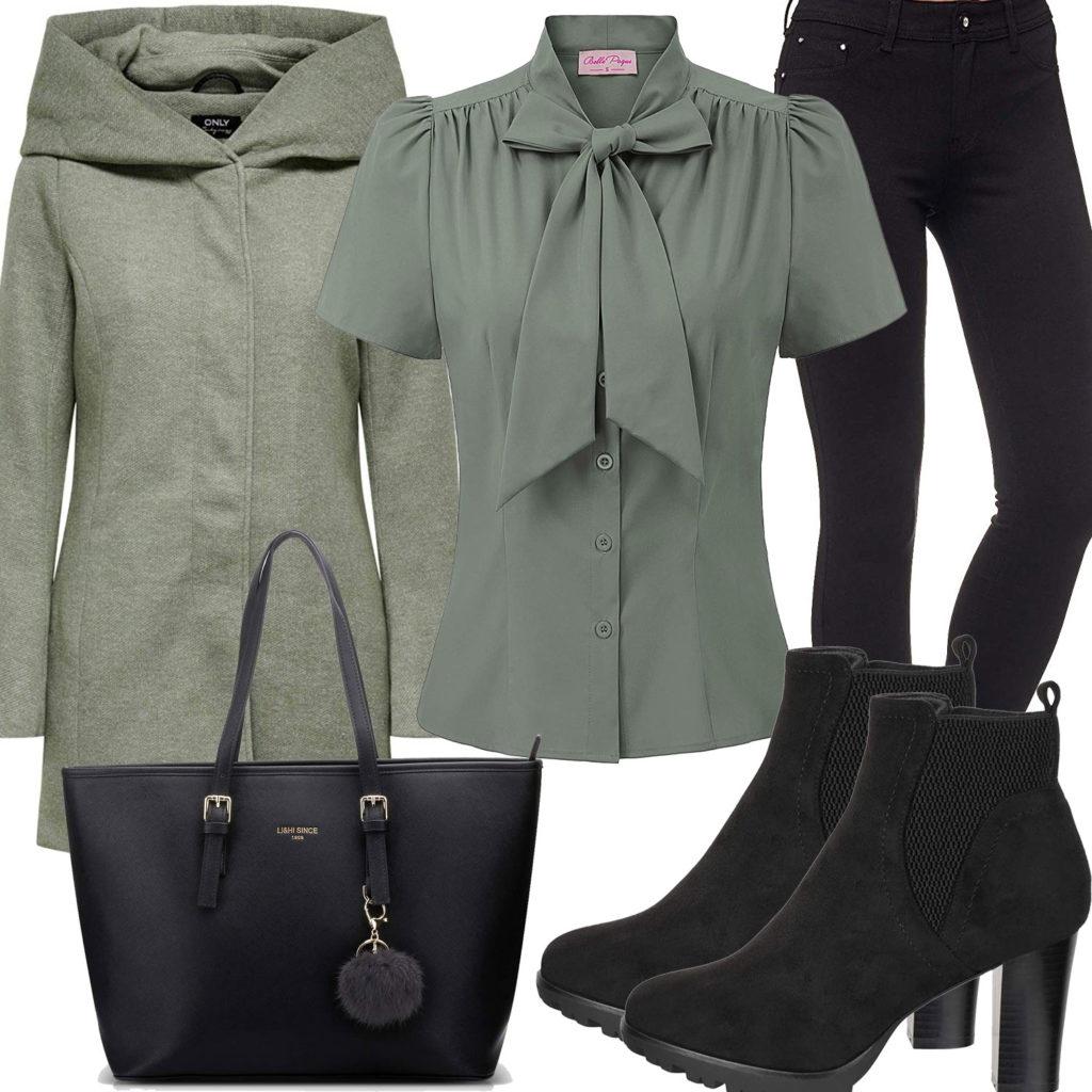 Eleganter Damen-Style in Schwarz und Mintgrün