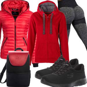 Schwarz-Rotes Frauenoutfit mit Leggings und Steppjacke