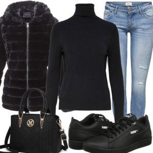 Schwarzes Damenoutfit mit Pullover, Jacke und Sneakern