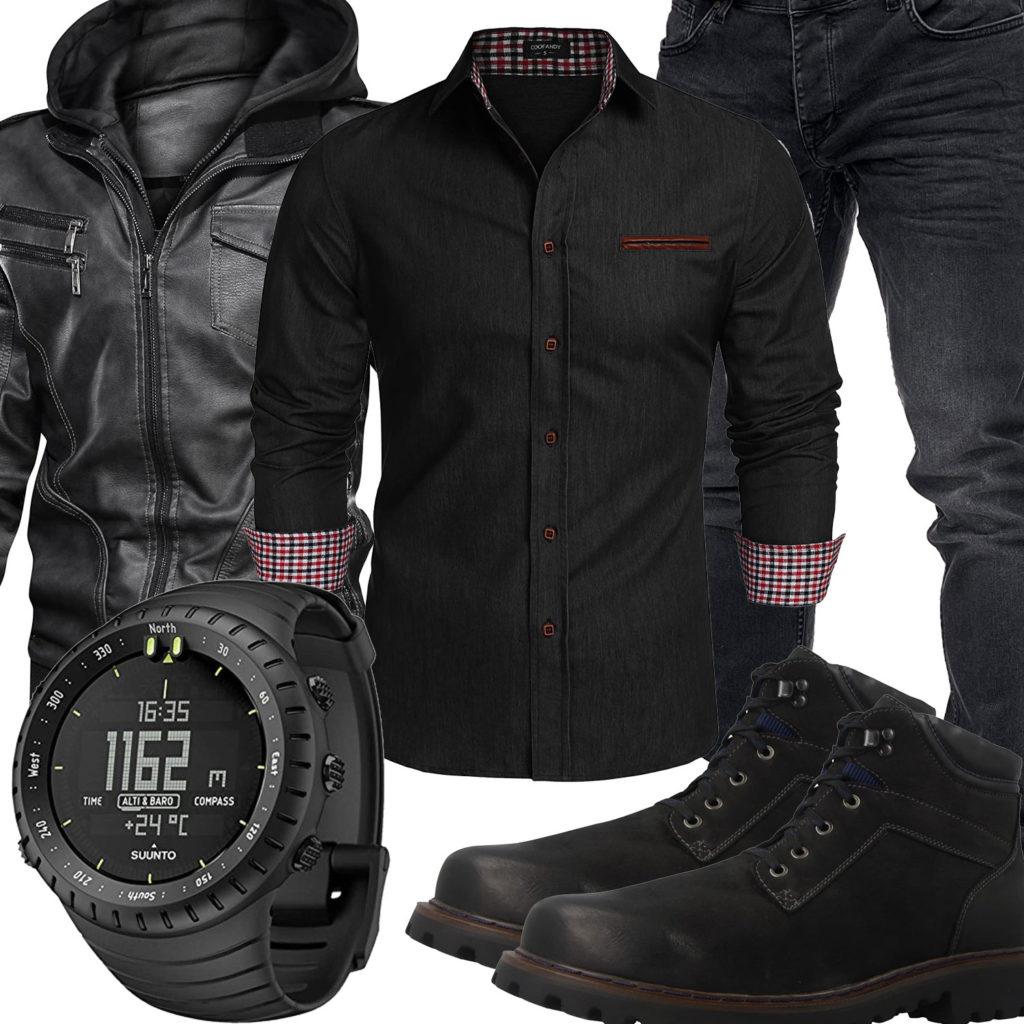 Schwarzes Herrenoutfit mit Lederjacke, Hemd und Uhr