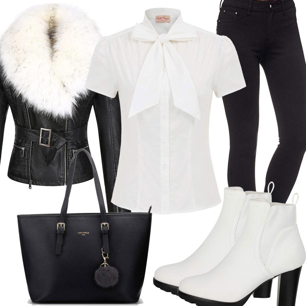 Schwarz-Weißes Frauenoutfit mit Bluse und Stiefeletten