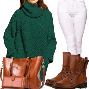 Weiß-Grünes Damenoutfit mit großer Lederhandtasche