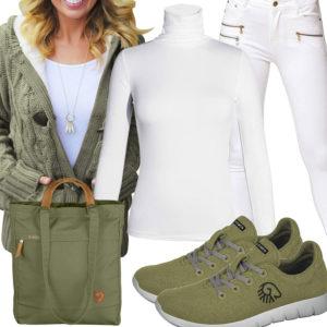 Grün-Weißes Frauenoutfit mit Strickjacke und Sneakern