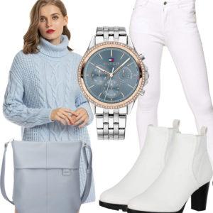 Damen-Style in Weiß und Hellblau