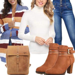 Frauenoutfit mit langer Strickjacke, Stiefeln und Rucksack