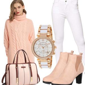 Weiß-Rosa Damenoutfit mit Strickkleid, Jeans und Uhr