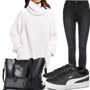 Schwarz-Weißes Frauenoutfit mit Strickkleid