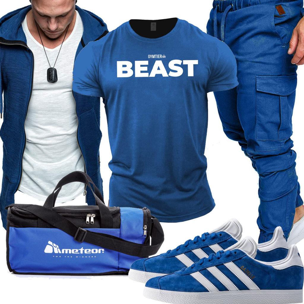 Blaues Gym-Herrenoutfit mit Hoodie und Shirt