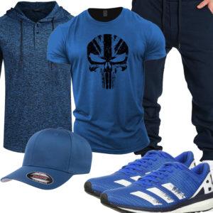 Blauer Gym-Style mit Shirt, Hoodie und Cargo-Hose