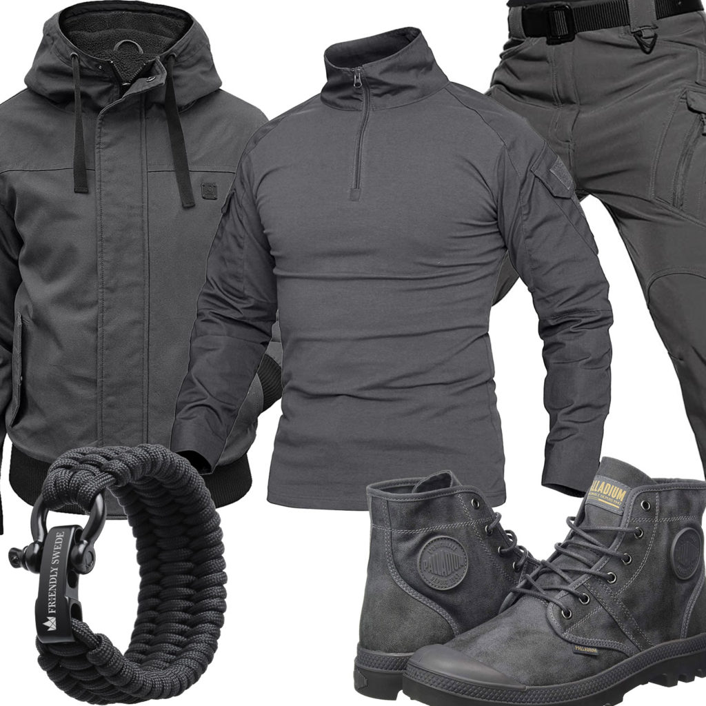Graues Herrenoutfit mit Stiefeln, Jacke und Paracord-Armband