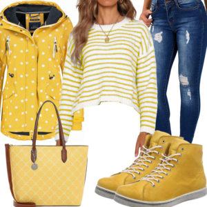 Gelb-Weißes Damenoutfit mit destroyed Jeans