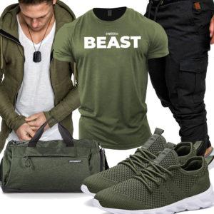 Grünes Gym-Herrenoutfit mit Hoodie und Tasche