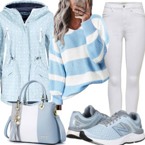 Frühlings-Frauenoutfit in Weiß, Hellblau und Hellgrau