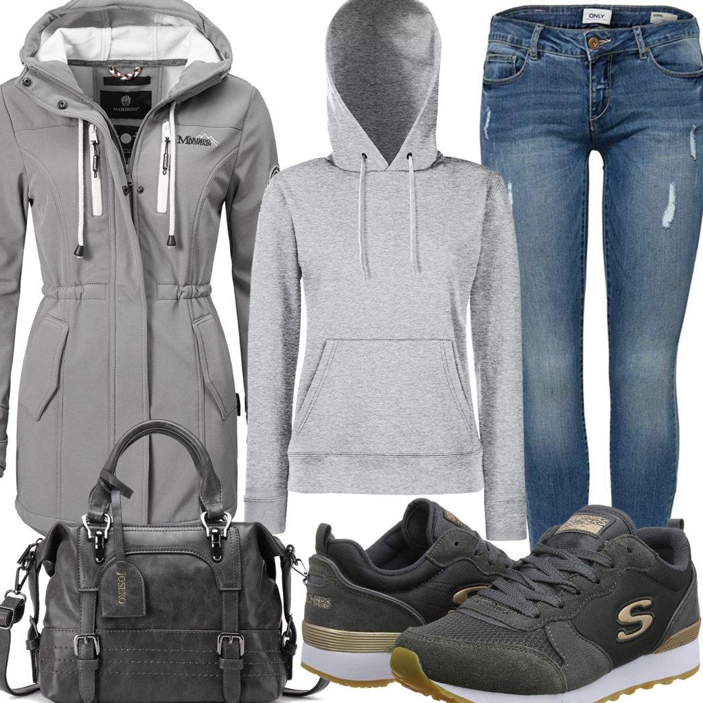 Graues Damenoutfit mit Hoodie, Softshelljacke und Sneakern