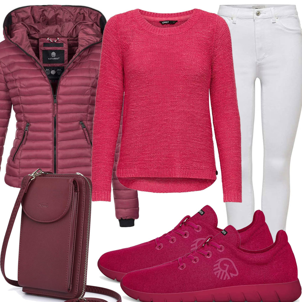 Himbeerrotes Damenoutfit mit Pullover und Steppjacke
