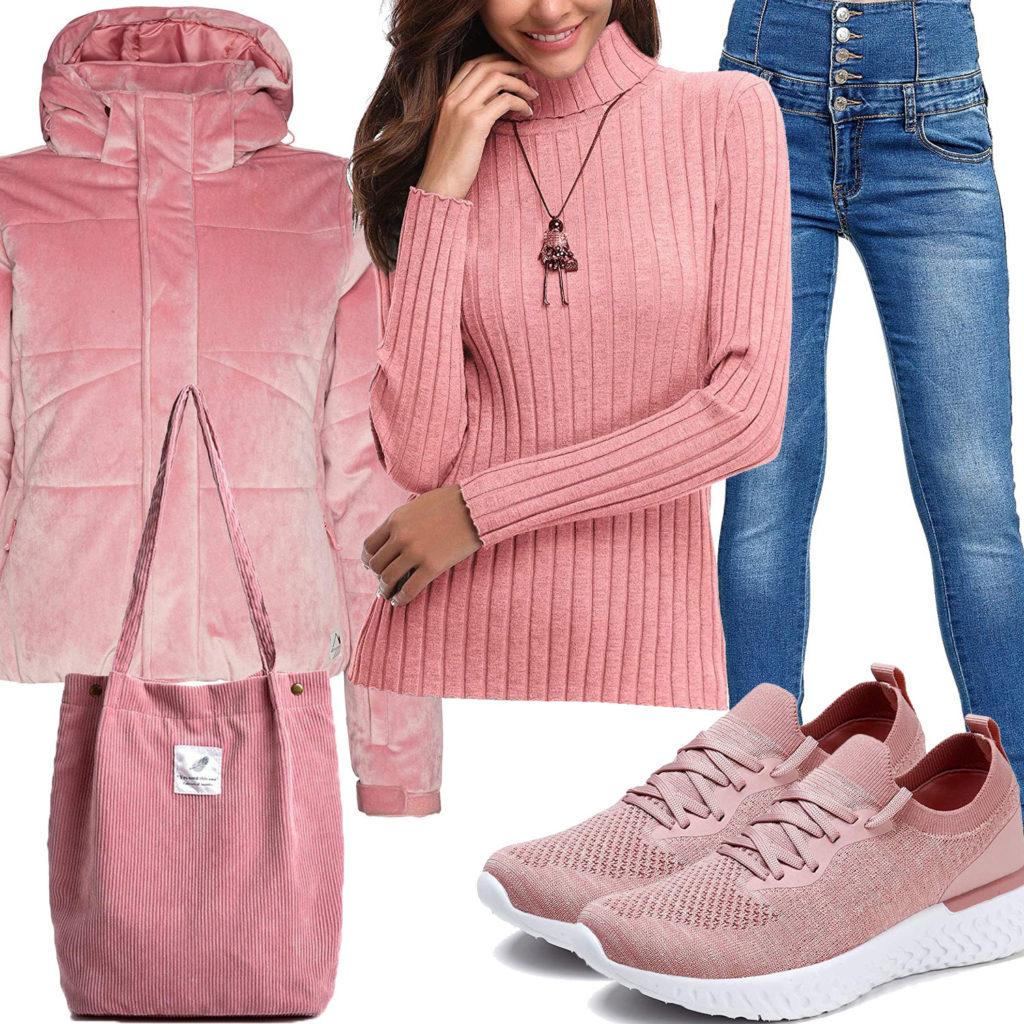 Rosa Frauenoutfit mit Steppjacke, Pullover und Sneaker