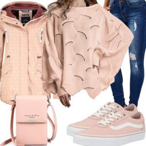 Apricot Damenoutfit mit Pullover, Jacke und Vans