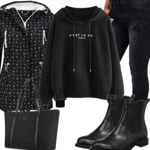 Schwarzes Frauenoutfit mit Jacke, Hoodie und Shopper