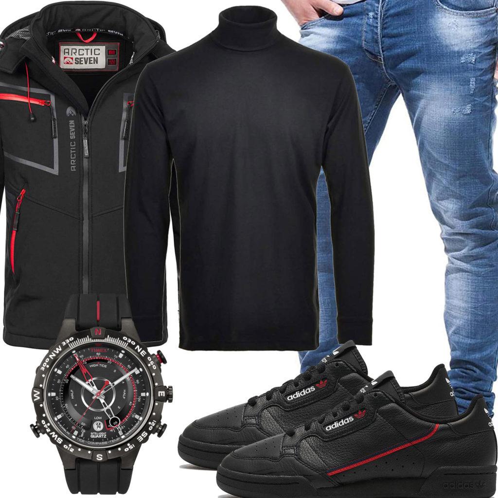 Herren-Style mit schwarzer Softshelljacke, Uhr und Longsleeve