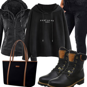 Schwarzes Frauenoutfit mit Lederjacke, Hoodie und Shopper